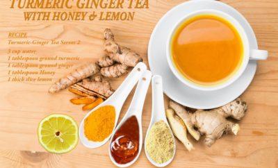 Turmeric Ginger Tea with Honey & Lemon